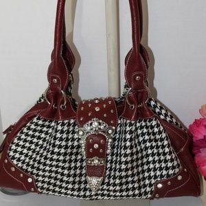 Handbags - HoundsTooth Fabric w/Faux Leather & Glitz Flap Bag